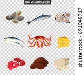 high vitamin b12 foods. healthy ... | Shutterstock .eps vector #691048717