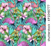 seamless floral backgrouynd ... | Shutterstock . vector #691048777