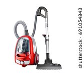 red vacuum cleaner isolated on... | Shutterstock . vector #691054843