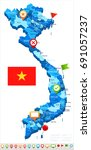 vietnam map and flag   vector... | Shutterstock .eps vector #691057237