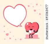 vector cartoon heart character... | Shutterstock .eps vector #691063477