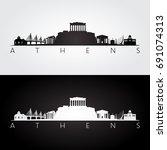 athens skyline and landmarks... | Shutterstock .eps vector #691074313