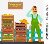 the farmer has a good harvest... | Shutterstock .eps vector #691077073