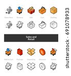 set of isometric icons in... | Shutterstock .eps vector #691078933