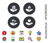 helping hands icons. health and ... | Shutterstock .eps vector #691083403