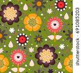 floral seamless pattern.... | Shutterstock .eps vector #691085203