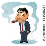 funny businessman in  suit...   Shutterstock .eps vector #691088257