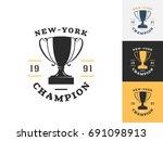 vintage trophy logo design...   Shutterstock .eps vector #691098913