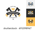vintage carpentry logo design... | Shutterstock .eps vector #691098967