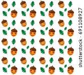 emoticons seamless pattern. oak ... | Shutterstock .eps vector #691108927