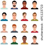 set of portraits of avatars of... | Shutterstock .eps vector #691123723