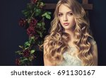 blonde fashion  girl with long  ... | Shutterstock . vector #691130167