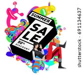summer sale colorful style... | Shutterstock .eps vector #691134637