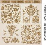set of gold damask seamless...   Shutterstock .eps vector #691138687