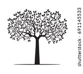 black tree with leaves. vector... | Shutterstock .eps vector #691145533