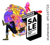 summer sale colorful style... | Shutterstock .eps vector #691147723