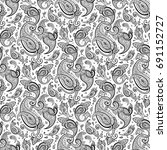 paisley hand drawn pattern.... | Shutterstock .eps vector #691152727