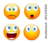 smiley with blue eyes emoticon... | Shutterstock .eps vector #691154503