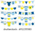 vector baby boy clothes hanging ... | Shutterstock .eps vector #691155583