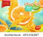 Orange Juice. Sweet Fruits. 3d...