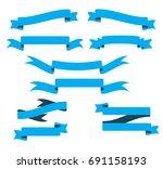 ribbon banner set  banners flat ... | Shutterstock .eps vector #691158193
