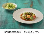 beautiful and tasty food on a... | Shutterstock . vector #691158793