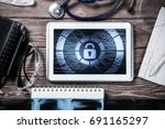 doctors workplace with white... | Shutterstock . vector #691165297
