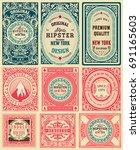 set of 9 vintage labels | Shutterstock .eps vector #691165603