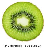 Slice Of Kiwi Fruit Isolated O...