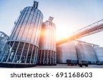 modern silos for storing grain... | Shutterstock . vector #691168603
