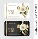gift card with a gold bow ... | Shutterstock .eps vector #691173823