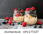 overnight oats with fresh... | Shutterstock . vector #691177237