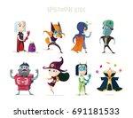 halloween.children in halloween ... | Shutterstock .eps vector #691181533