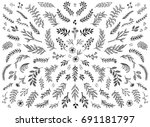 Stock vector hand sketched floral design elements flowers and leaves for text decoration 691181797