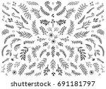 hand sketched floral design... | Shutterstock .eps vector #691181797
