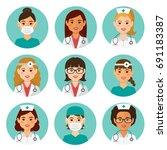 medicine flat avatars set with...   Shutterstock .eps vector #691183387