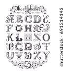 decorative vintage alphabet.... | Shutterstock .eps vector #691214143