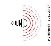 music sound waves on white... | Shutterstock .eps vector #691216417