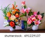 flower vase on table | Shutterstock . vector #691229137