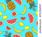 seamless pattern with fruit of... | Shutterstock .eps vector #691236547