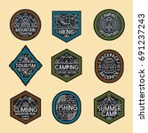 camping logo set color style... | Shutterstock . vector #691237243