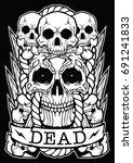skull dead face dark design | Shutterstock .eps vector #691241833