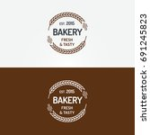 bakery logo set with wheat line ... | Shutterstock . vector #691245823
