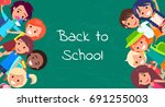 back to school kids isolated... | Shutterstock .eps vector #691255003