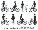black silhouettes of bicyclist... | Shutterstock .eps vector #691255747