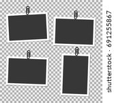 photo frame with clip on grey... | Shutterstock .eps vector #691255867