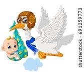 stork with baby cartoon | Shutterstock . vector #691259773