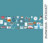 medical flat vector background... | Shutterstock .eps vector #691261627