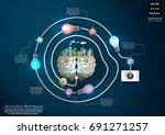 brain   building in the city... | Shutterstock .eps vector #691271257