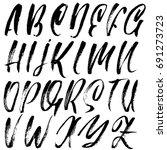 hand drawn dry brush font....   Shutterstock .eps vector #691273723